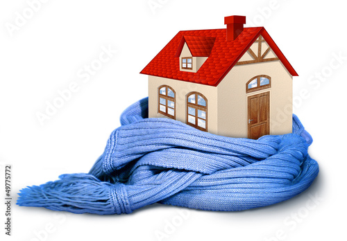 Home insulation, illustration conceptual isolated on whit