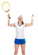 Happy tennis player with racket rejoicing in success