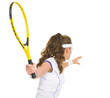 Tennis player ready to hit ball. rear view