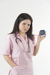 Nurse ready with stethoscope and glucometer