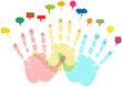 social networks and media concept, smiling hands, vector