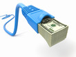 Make money online. Concept. Internet cable with dollars