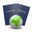 World travel. Earth and passport. 3d