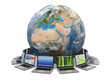 Internet. Global communication. Earth and laptop. 3d
