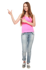 Female teenager pointing