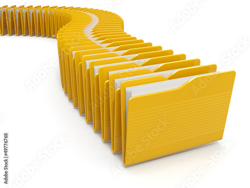 Row of computer yellow folders