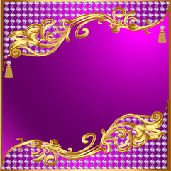 background with gold ornaments and precious stones tassels
