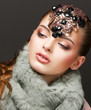 Fantasy. Russian Woman fashion Model with Brilliant Crown