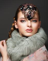 Elegance. Classy European Woman with Diamond Diadem. Jewellery
