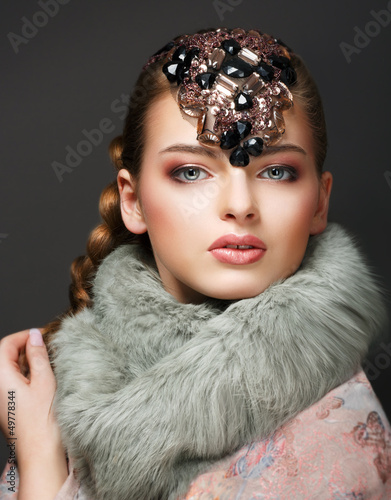 Elegance. Classy European Woman with Diamond Diadem. Jewellery