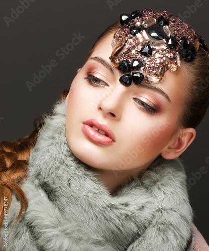 Fantasy. Russian Woman fashion Model with Brilliant Crown