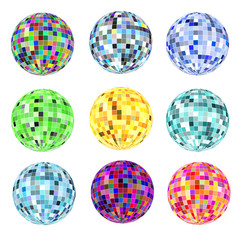 of a set of balls of different colors for a disco on a white