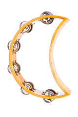 Wooden Tambourine with Crescent Shape Isolated on a White