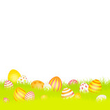 Easter Background Meadow Eggs Red/Yellow/Orange