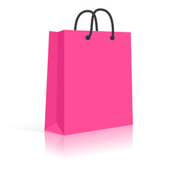 Blank Paper Shopping Bag With Rope Handles. Pink, Black. Vector,