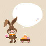 Bunny Handcart Speech Bubble Beige Dots