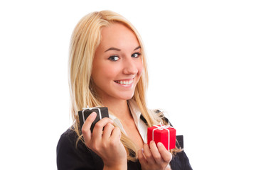 Young woman with two present boxes closeup