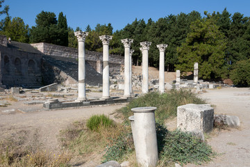 Kos, corinthian colums of Asclepion temple - Greece