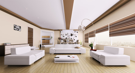 Modern apartment interior 3d render