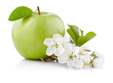 Single Green Apple with Leaf and Flowers isolated on a white bac