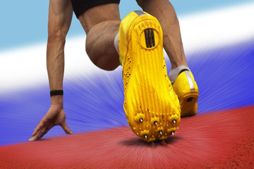 Sprinter start position national colors russia