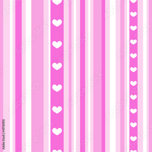Seamless pink stripes with hearts
