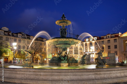 Fountain in Rossio Square, Lisbon, Portugal