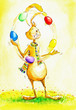 Easter bunny juggling with easter eggs.