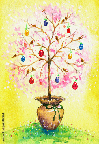 Easter flowering tree with eggs and birds .