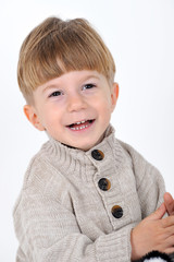smiling child on white background