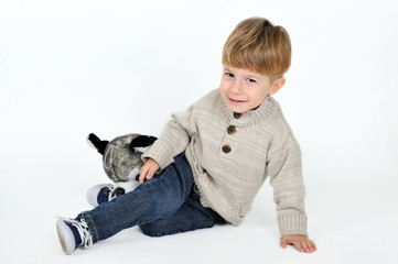 boy with a teddy dog