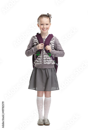 Smart pupil is ready to go to school, isolated Poster