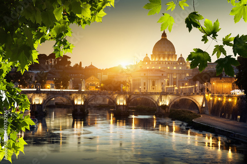 Foto op Aluminium Rome view on Tiber and St Peter Basilica in Vatican