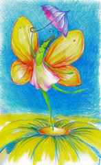 Happy butterfly dancing on a flower.