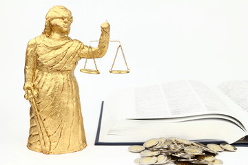 Themis, book and money on the white background