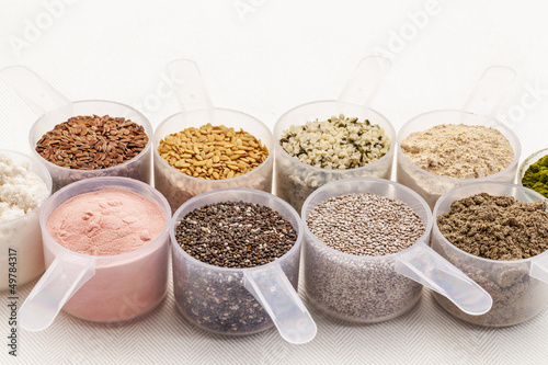 scoops of seeds and powders