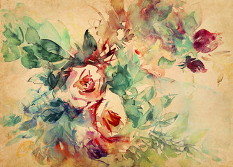 rosen aquarell pergament