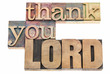 thank you Lord in wood type