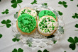 Irish Cookies Over a Shamrock Bacground