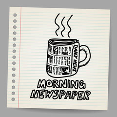 Doodle style newspaper coffee cup illustration
