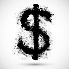Vector illustration of Dollar splatter design element.
