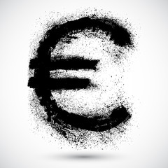 Grunge shape of the European Union currency, Euro.