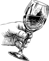 hand with wine