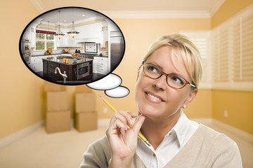 Woman in Empty Room with Thought Bubble of a New Kitchen Design