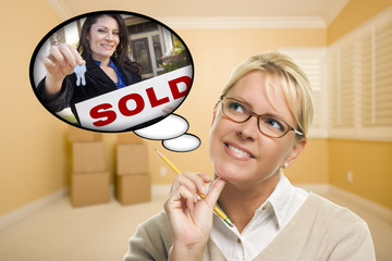 Woman In Empty Room with Thought Bubble of Agent Handing Over Ne