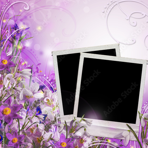 Spring bouquet  with frames for photo