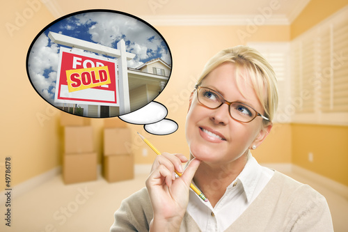 Woman in Empty Room with Thought Bubble of Sold Real Estate Sign