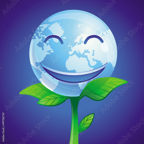 Vector ecology concept - vector smiling planet