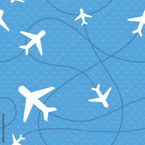 Vector seamless pattern with plane icons
