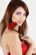 tender girl with rose